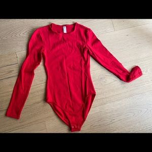 American Apparel Red Cotton Bodysuit Small